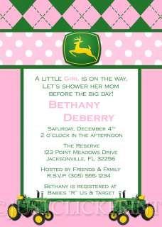 Camo Baby Invitations Boy Girl John Deere Inspired Baby Shower