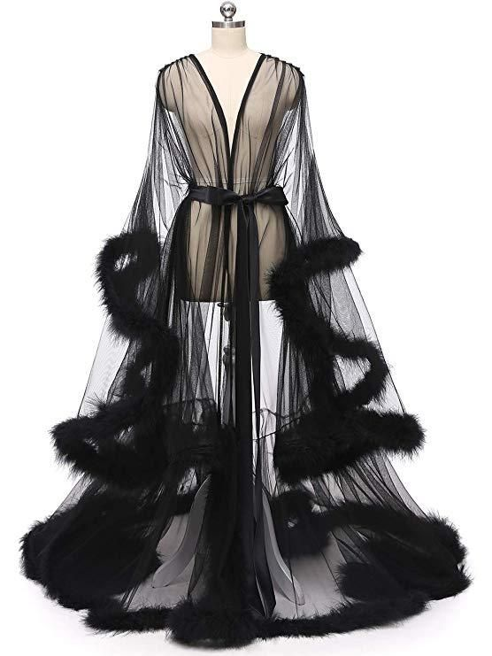 Sexy tulle robe with flirty marabou fur edge. Perfect for any special occasion such as prom, honey moon, Cocktail, Birthday, Photo Shoot, Masquerade Dancing Party, Anniversary, Engagement, Pageant, and more. Tulle, Fur, Satin Sash Length approx 59 inches Size S - suitable for size 0-6 Size M - suitable for size 8-14 Size L - suitable for size 16 - 20 Turn around time around 1-2 weeks.