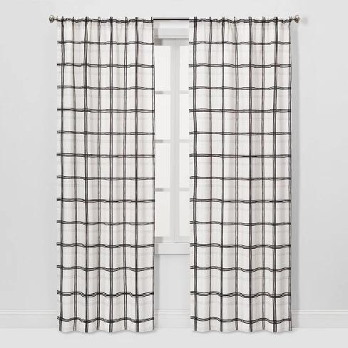 2pc 40 X84 Light Filtering Plaid Window Curtain Panels Black