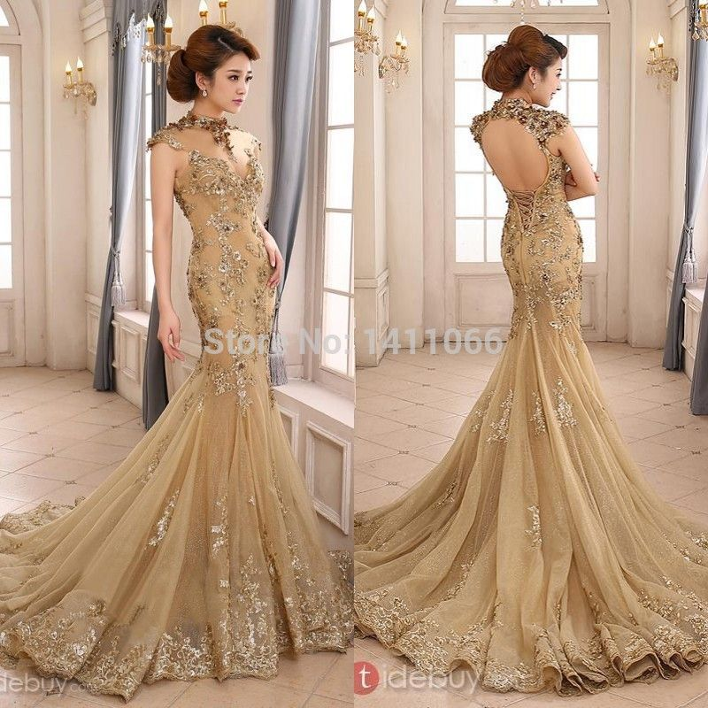 2014 Luxury Gold Mermaid Wedding Dress High Neck Sheer Illusion Beaded  Applique Chapel Train Backless Bridal - 2014 Luxury Gold Mermaid Wedding Dress High Neck Sheer Illusion