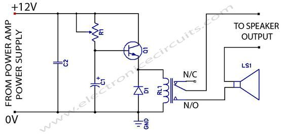 Speaker Protection Circuit Schematic | electronic circuits | Pinterest
