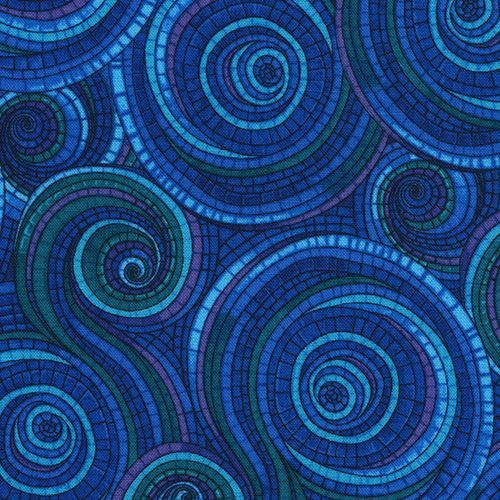 colorful fabric with mosaic swirl purple blue green by Timeless Treasures 1