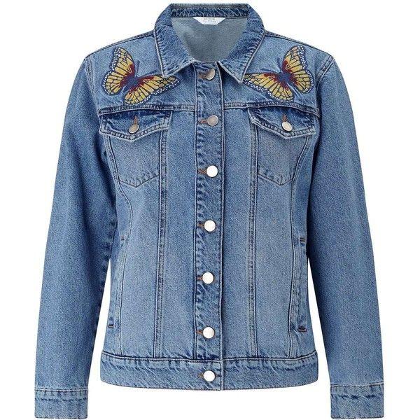 Miss Selfridge Butterfly Denim Jacket ($49) ❤ liked on Polyvore ...