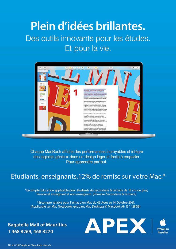 Back to School Promo chez APEX - 12% Discount sur Apple Notebooks pour Enseignants & Etudiants. Tél: 468 8269 / 468 8270