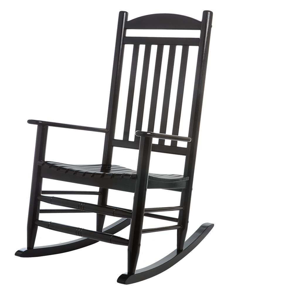 Hampton Bay Black Wood Outdoor Rocking Chair 2 1 1200 The Home