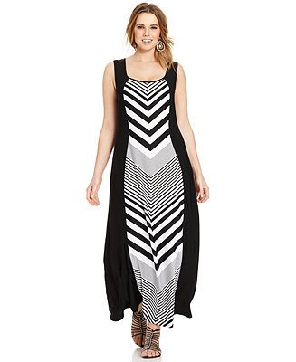Love Squared Plus Size Sleeveless Striped Maxi Dress - Plus Size ...