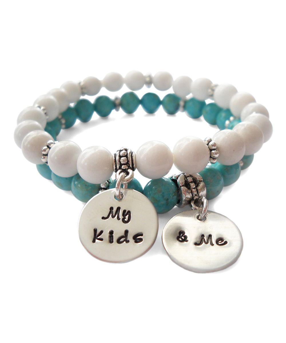 Teal & White 'My Kids & Me' Beaded Stretch Bracelet Set