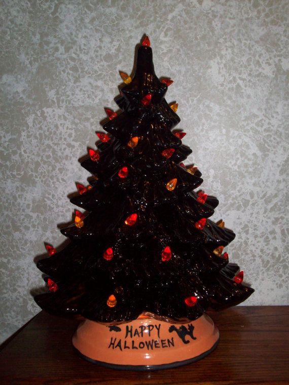 Black Ceramic Happy Halloween Tree Lighted Arts And