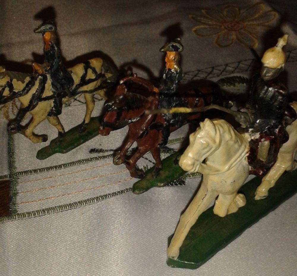 Reiter mit Pferd, Figur aus Zinn, Frankreich? farbig, handbemalt, Sammler, 3tlg. in Antiquitäten & Kunst, Haushalt, Sonstige   eBay