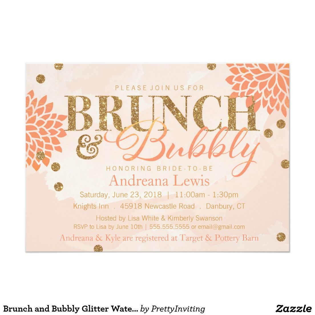 Brunch and Bubbly Glitter Watercolor Shower Invite | bridal shower ...