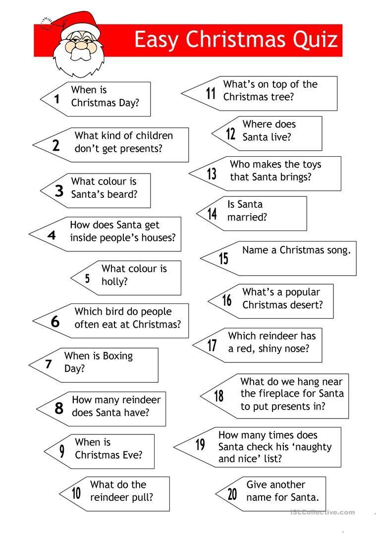 Quiz - Easy Xmas Quiz (With images) | Christmas quiz, Christmas worksheets, Christmas trivia