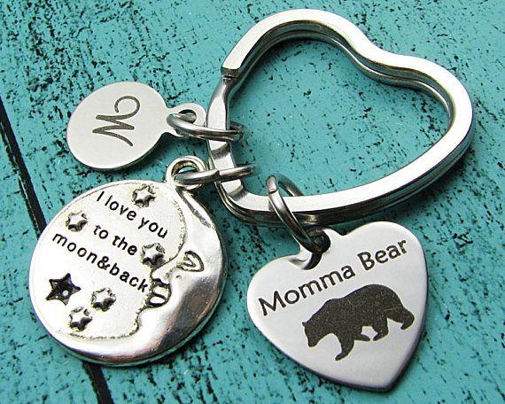 I love you to the moon and back keychain, Mama bear gift, Momma bear