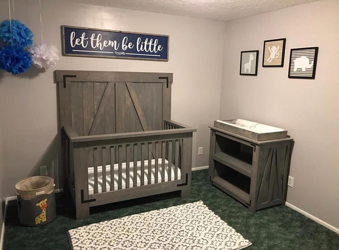 Diy farmhouse crib and changing table free plans at www - Baby jungenzimmer ...