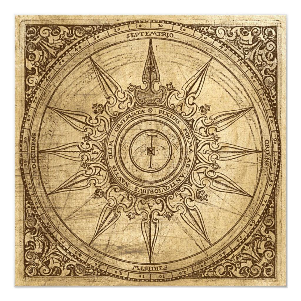 Old Compass Rose Invitation Zazzle Com In 2020 Compass Rose Tattoo Vintage Compass Compass Rose