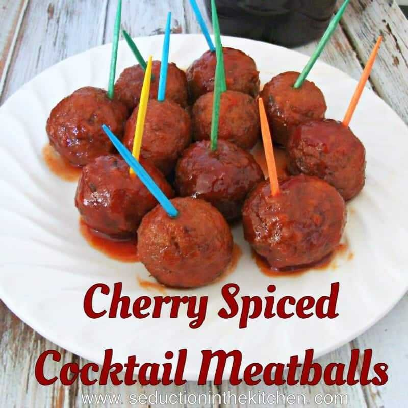 Cherry Spiced Meatballs {Amazing Appetizer Meatballs} #meatballswithgrapejelly