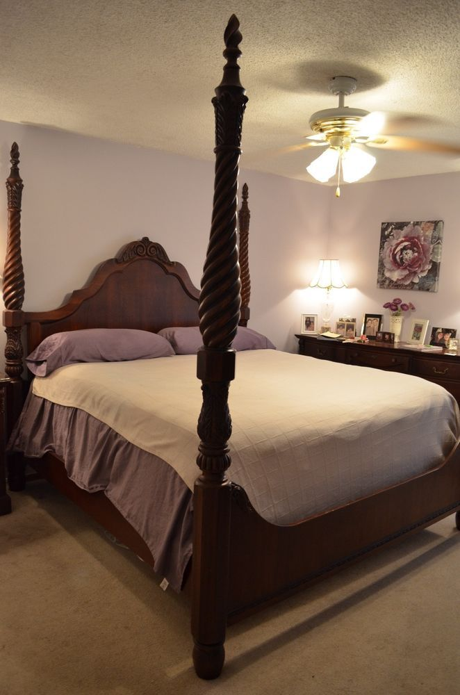Thomasville Four Poster King/Cal King Size Cherry Bed
