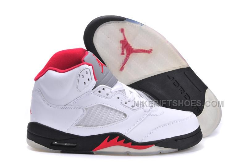 quality design c59d7 4e894 Air Jordan 5 (V) Retro White Fire Red-Black For Sale, The high top retro  sneaker is built from White leather with Fire Red blazing across the  midsole, ...