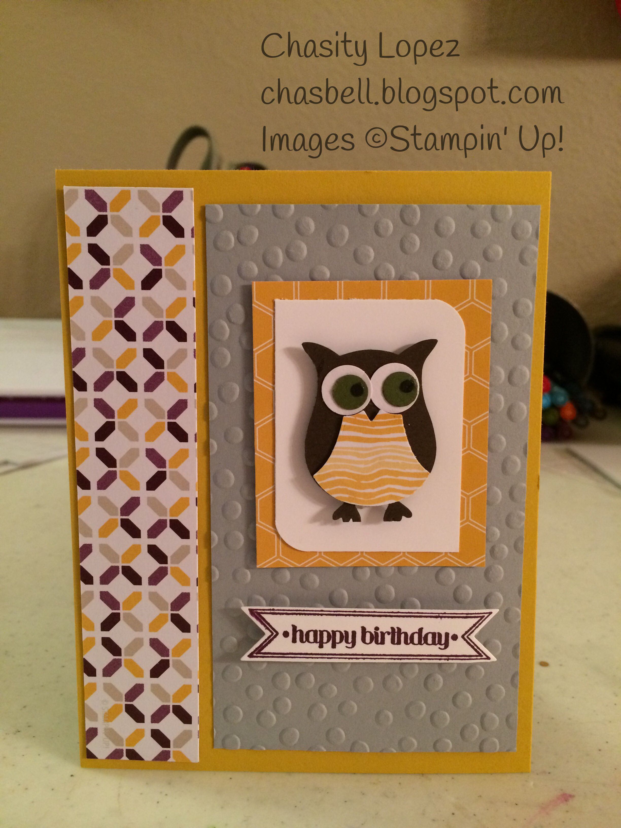 Hello Honey Cardstock, Smoky Slate Cardstock, Mossy Meadow Cardstock, Whisper White Cardstock, new Moonlight DSP , Blackberry Bliss stamp pads Itty Bitty Banners stamp set, Bitty Banners Framelits, Big Shot, Owl Punch.