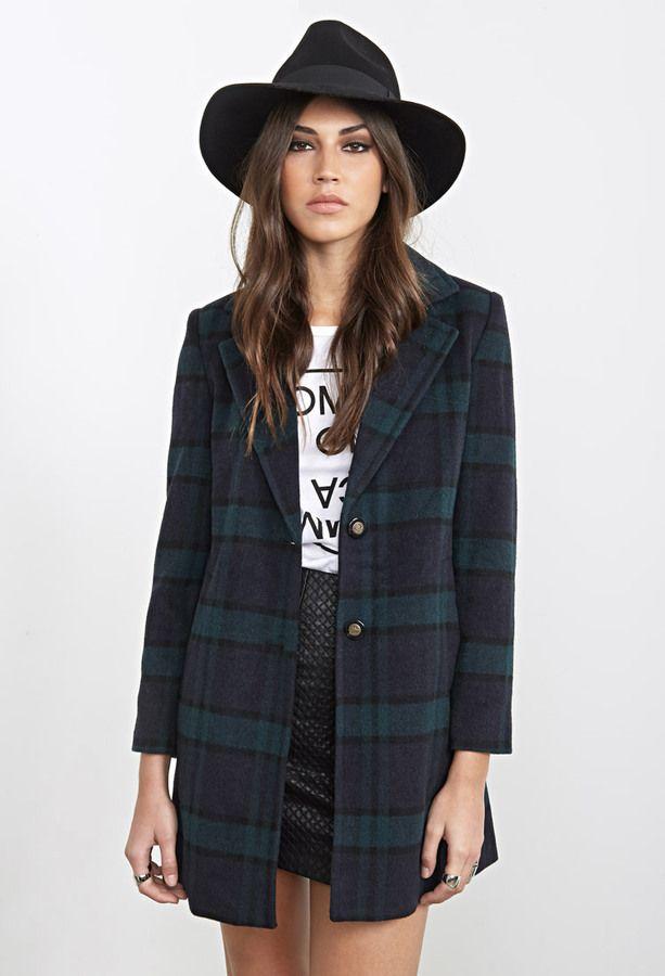 a07def1551a FOREVER 21 Wool-Blend Plaid Overcoat tartan