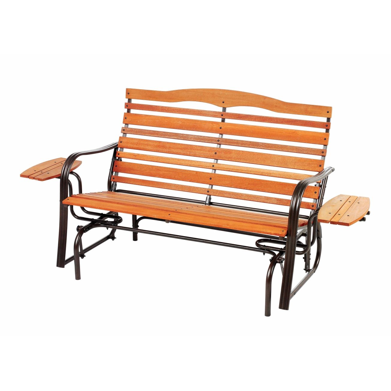 Living Accents® Wood Double Glider with Trays Gliders