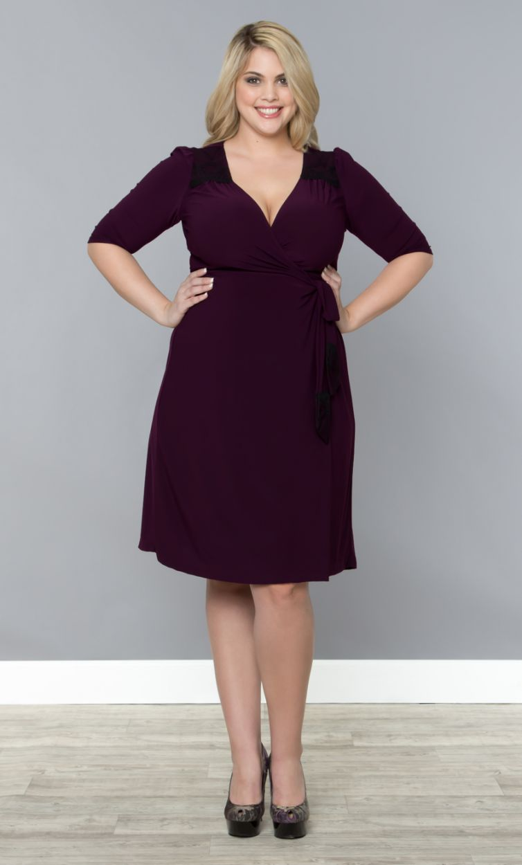 Julieanne Wrap Dress, Plum/Black (Womens Plus Size) | Plus ...