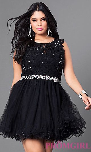 Plus-Size Short Lace and Tulle Party Dress in Black | Prom Dresses ...