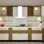 u-shaped white and light brown modular kitchen designs with tile backsplash