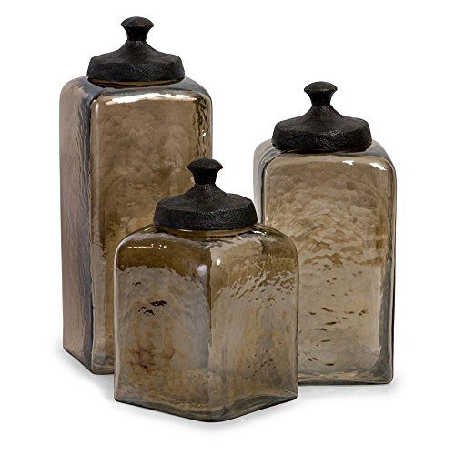 Square Brown Luster Canisters  Set of 3 -- Want additional info? Click on the image.