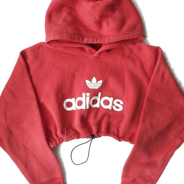 Adidas Liked Reworked Crop Hoody Orange48❤ Red On Polyvore HEW92IDY