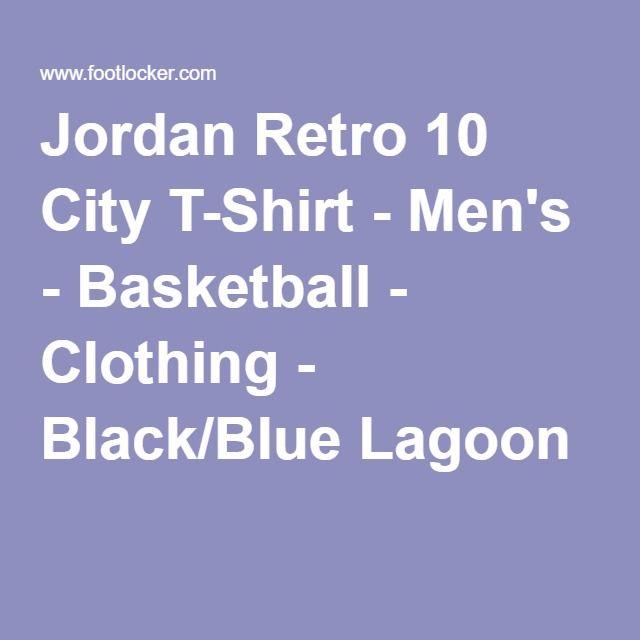 a2c4ba19fdb520 Jordan Retro 10 City T-Shirt - Men s - Basketball - Clothing - Black Blue  Lagoon