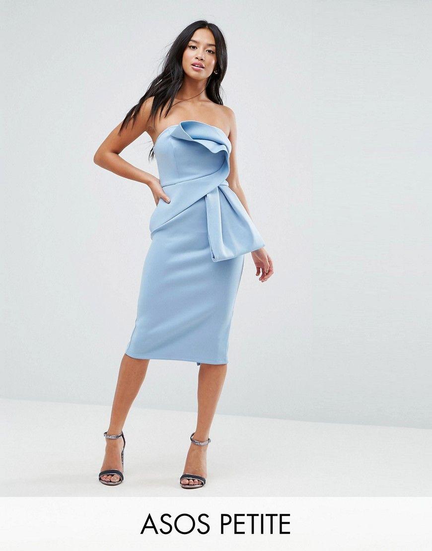 920180c621 ASOS PETITE Bandeau Fold Bow Front Scuba Midi Dress - Blue  Petite dress by  ASOS PETITE