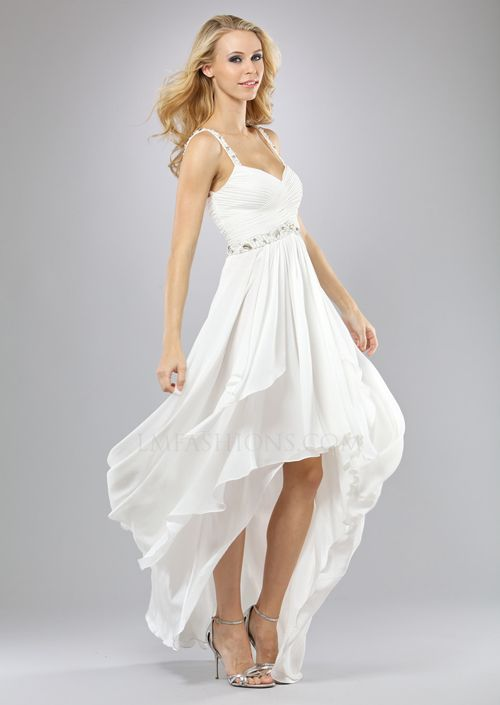 a2be7dd4dd4 Ivory Pleated Chiffon Beaded Empire Waist High-Low Prom Dress - Unique  Vintage - Cocktail