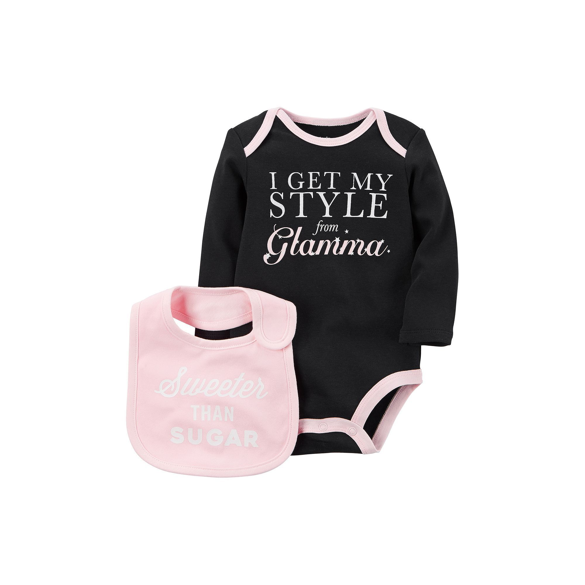 """Baby Girl Carter s """"I Get My Style from Glamma"""" Bodysuit & """"Sweeter"""