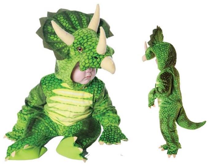 One Size Green Triceratops Dinosaur Dino Dragon Costume Headband /& Tail New