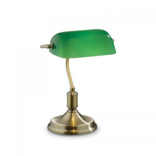 10196 007 Green Glass With Antique Brass Banker Desk Lamp