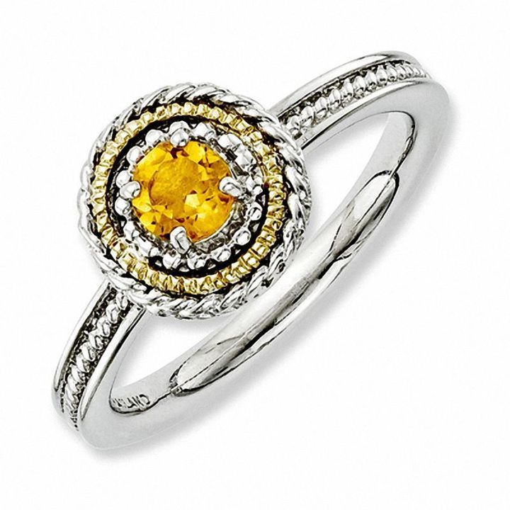 Zales Stackable Expressions Citrine and Diamond Accent Eternity Band in Sterling Silver YMVc8BZQ
