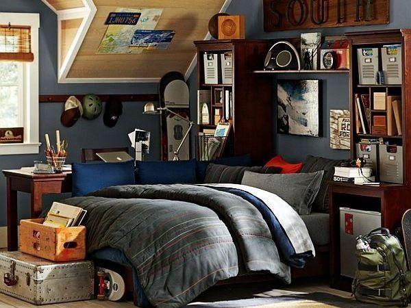 Best T**N Boy Room Ideas Attic Bedroom Design Dark Grey Colour 400 x 300