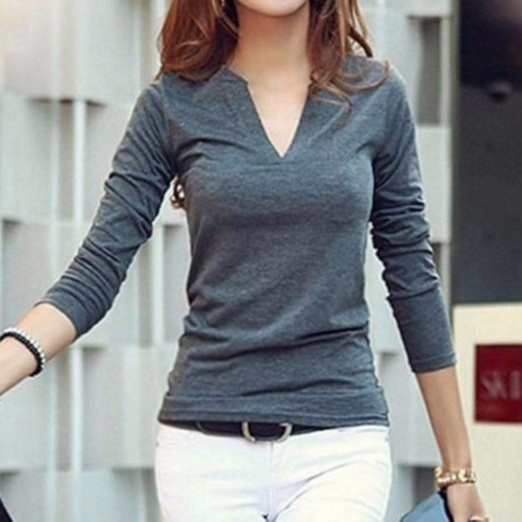 8c1a9c291b1 Casual Polo Collar Long Sleeves Solid Color T-Shirt For Women