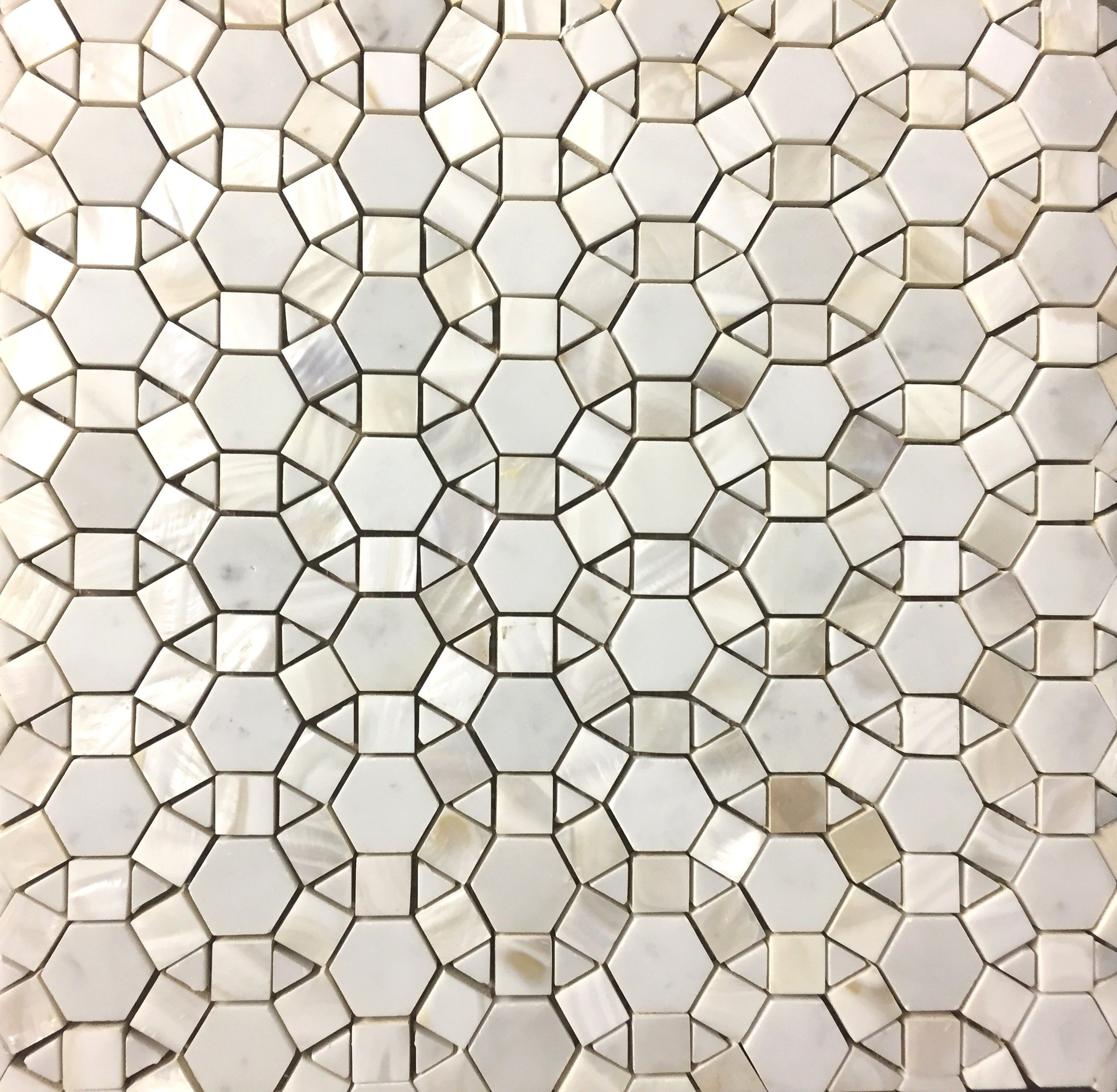 Bloom Water Jet Mosaic Tile In White Shell And Italian Carrara