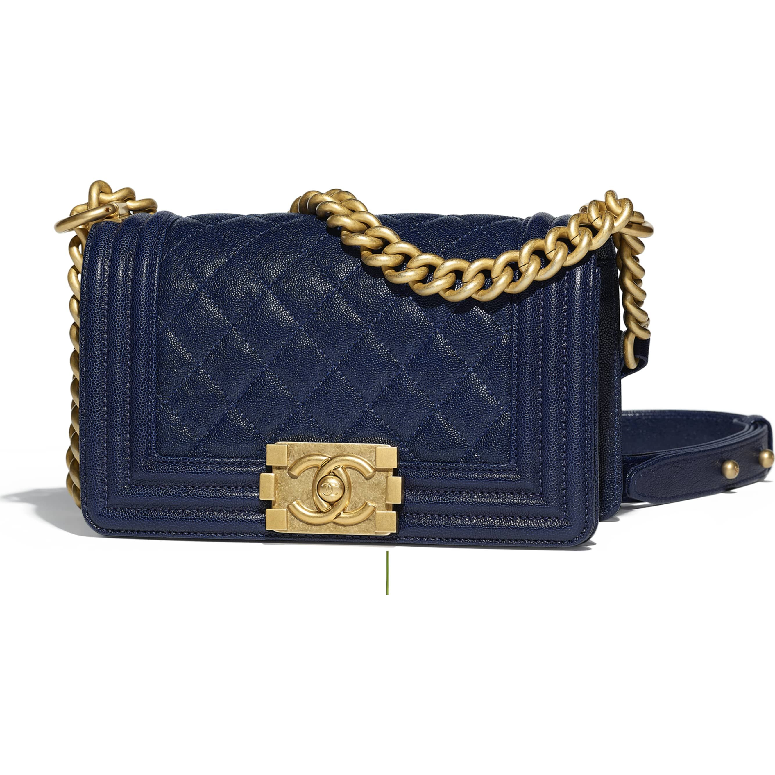 c648ef021a42 Grained Calfskin & Gold-Tone Metal Navy Blue Small BOY CHANEL Handbag |  CHANEL