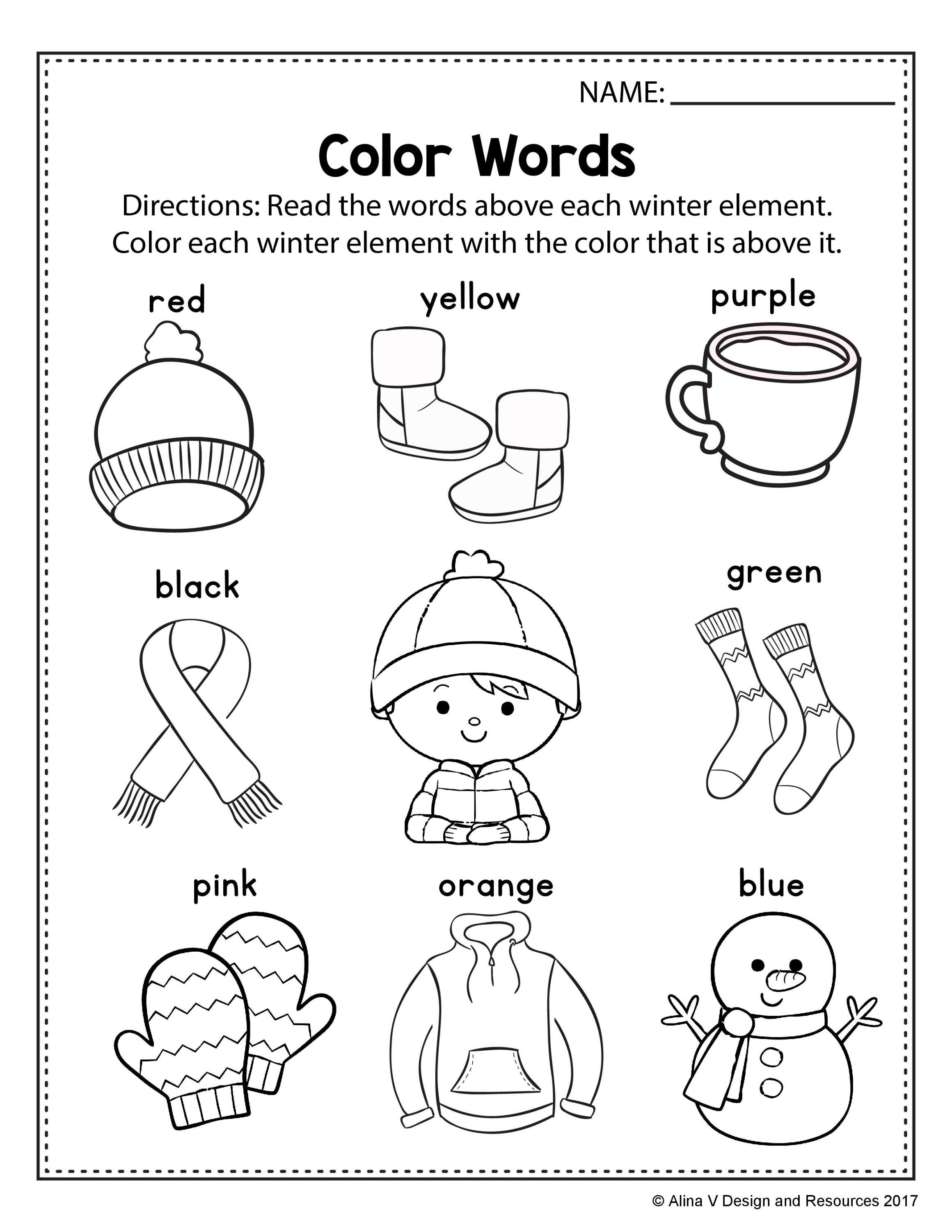 Preschool winter worksheets, Literacy