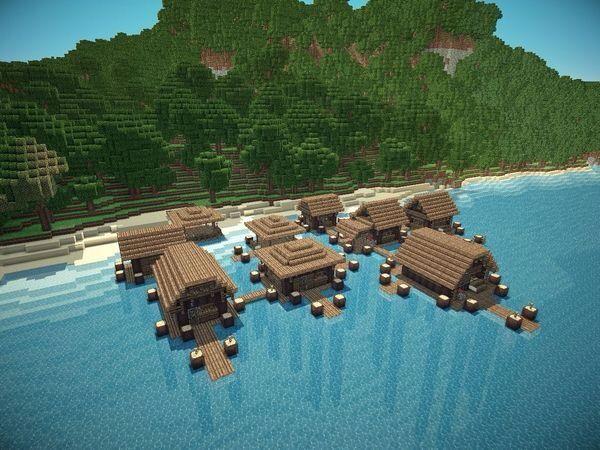 Water Village Minecraft Map With Images Minecraft Crafts