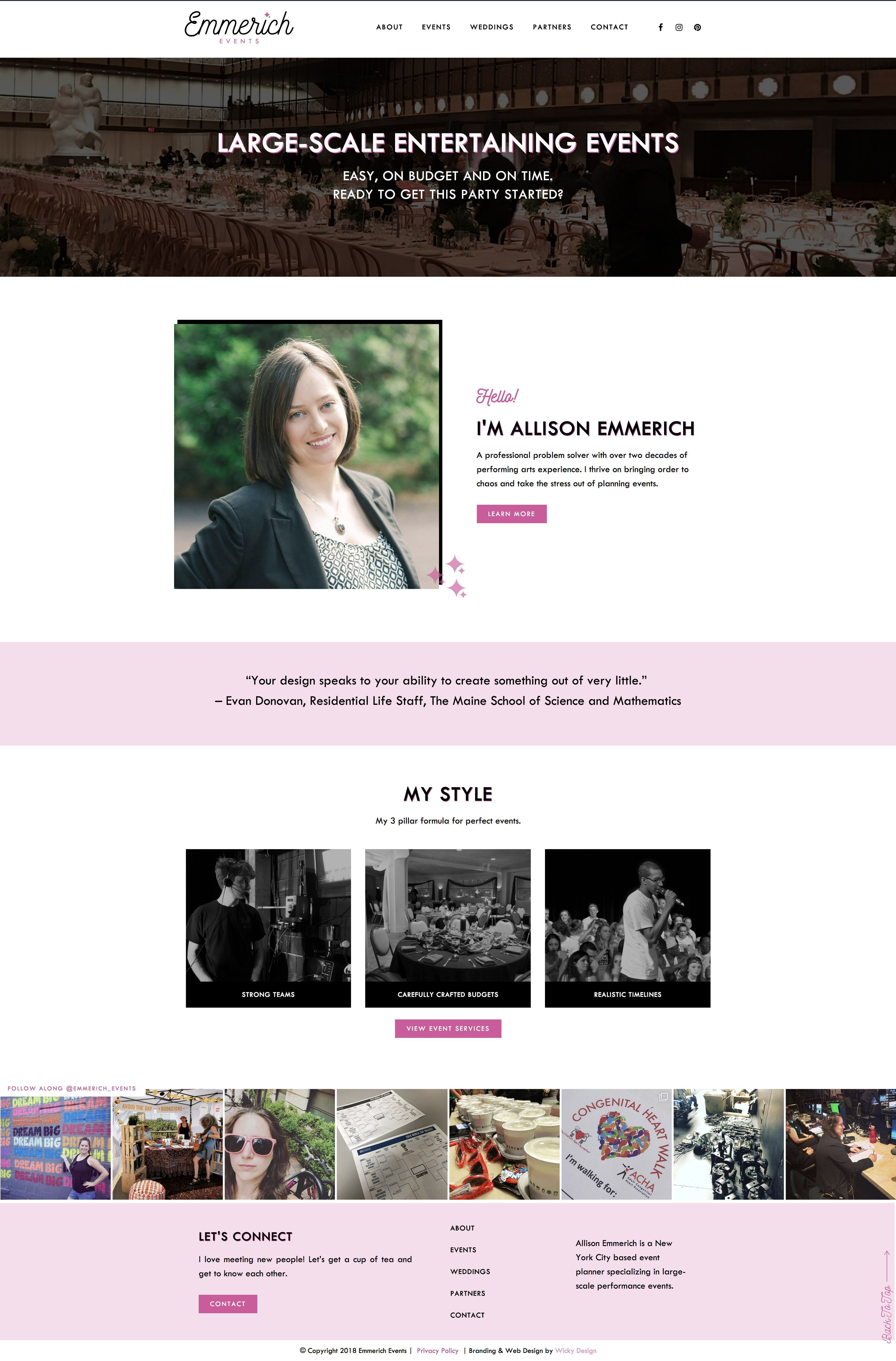 Web Design For Nyc Event Manager Emmerich Events Wicky Design Event Management Web Design Event
