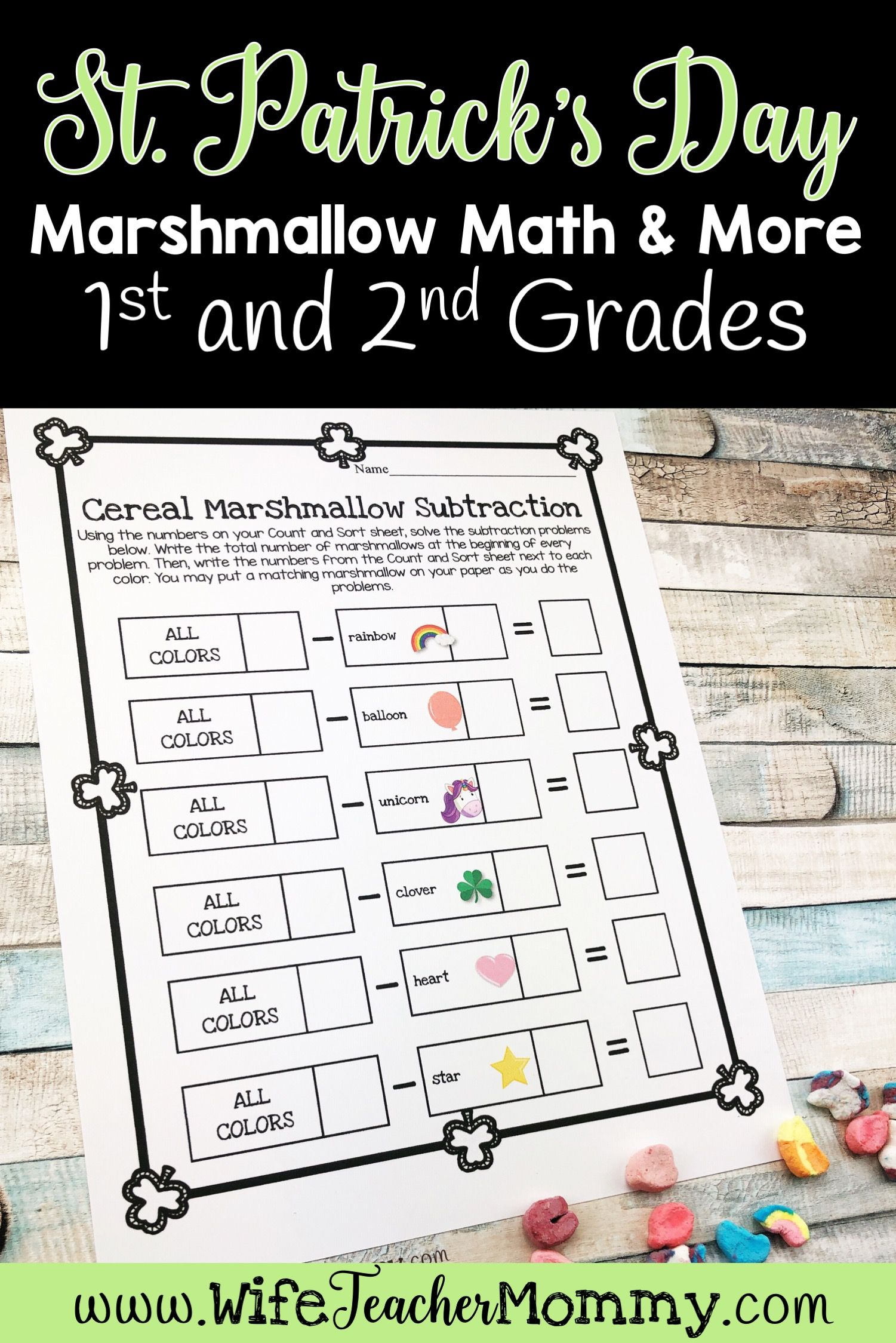 St. Patrick's Day Worksheets Cereal Marshmallow Activities 1st Grade 2nd  Grade   Math activities [ 2249 x 1501 Pixel ]