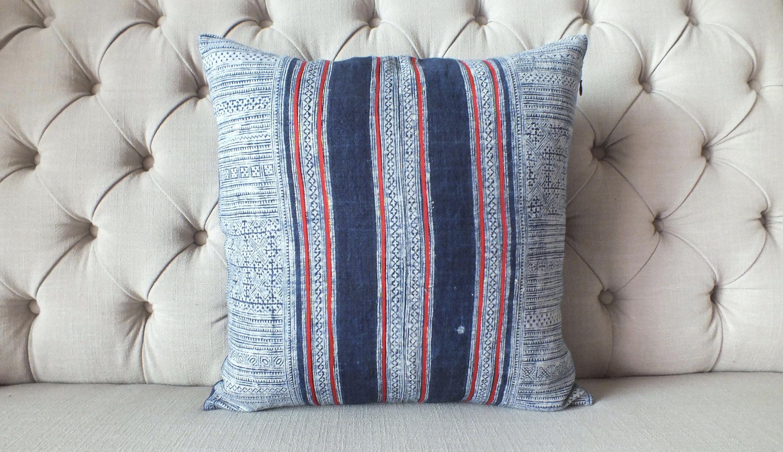 Vintage Batik Hmong Pillow Cover, Indigo Cotton Cushion Cover, Tribal