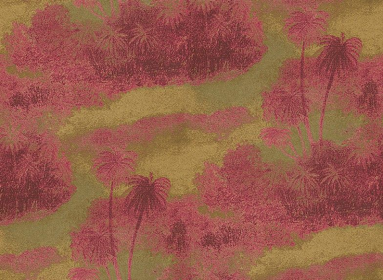 Cocos Fuchsia/Gold (W6652-05) - Osborne & Little Wallpapers - An atmospheric design featuring the silhouettes of swaying island palms. Shown in the fuchsia pink and metallic gold. Please request sample for true colour match.