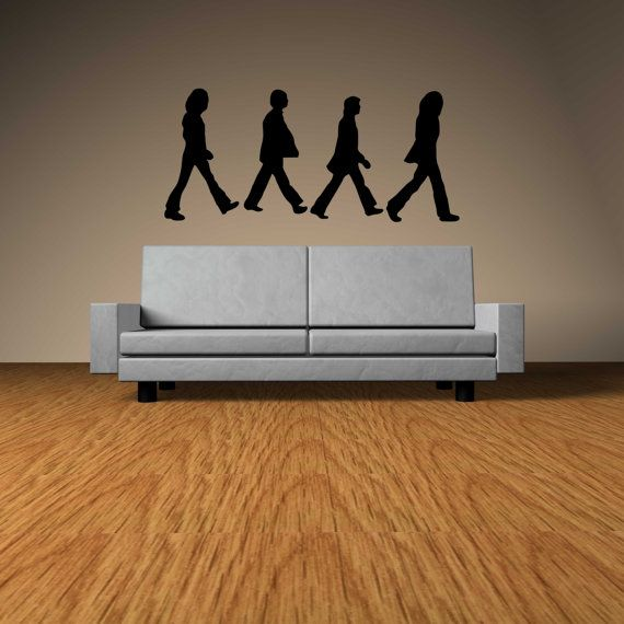 The beatles abbey road silhouette vinyl wall decal for Abbey road wall mural