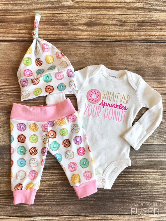 64a3cc03d39a4 Pink and White Whatever Sprinkles your donuts newborn outfit, donut ...