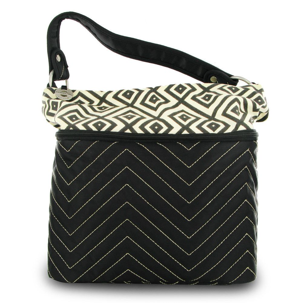 Travelon Quilted Nylon Zip-Top Black Train Case Stash all of your toiletry essentials in the Travelon Quilted Nylon Zip-Top Train Case, with room to spare! With its modern geometric quilted pattern, lined interior, and elastic pockets for bottles, you can travel in the ultimate style and comfort. You can easily reach all your items with the zippered top and with the durable, easy-clean exterior, you can be sure this case can handle any train ride or plane ride you take.