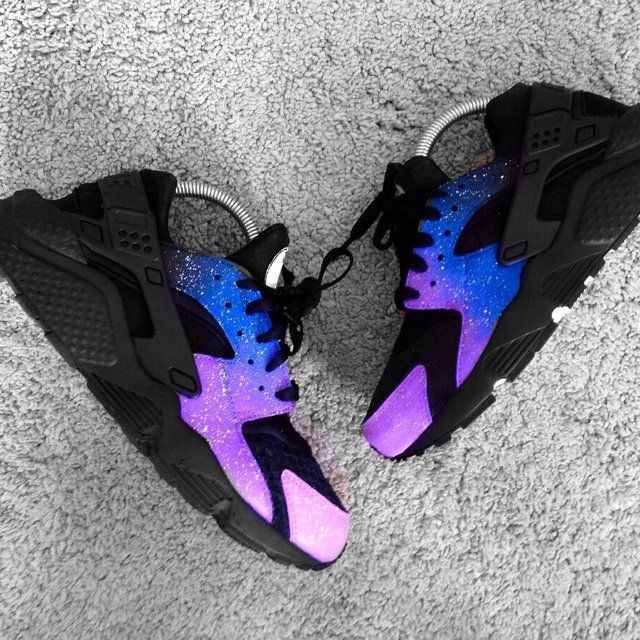 Nike Air Huarache Femme Noir Bleu Violet Galaxie